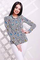 Молочная стильная блуза с бабочками из тонкой, приятной на ощупь блузочной ткани - супер софт.