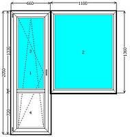 Балконный блок EuroLine Киев (выход на балкон) недорого. Цены на балконные блоки Киев.