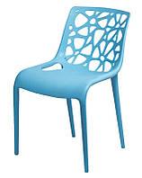 Стул Корал голубой, пластиковый стул резной для дома, HoReCa