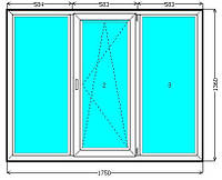 Металлопластиковое трехстворчатое окно WDS 400, WDS 505?, WDS-8 недорого Киев. Окна Киев цены на