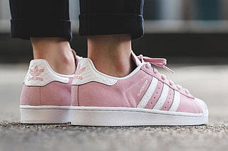 Женские кроссовки Adidas Superstar Suede Pink White, фото 3