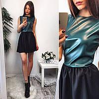 Платье комбинированное с экокожей