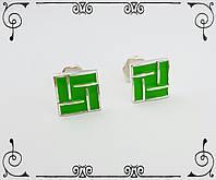 """Серебряные серьги-гвоздики с эмалью """"Квадраты"""""""