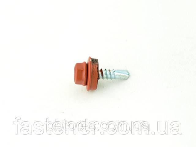 Саморез для профлиста Impax 4,8х19 с шайбой EPDM, RAL 8004 сверл.(1,5-3,5 мм), упак.-250 шт, ESSVE (Швеция), фото 1