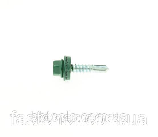 Саморез для профлиста Impax 5,5х25 с шайбой EPDM, RAL 6005,  сверл.(1,5-5,0) мм, упак.-250 шт, ESSVE (Швеция), фото 1