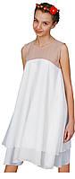 Коктейльное женское белое шифоновое мини-платье