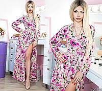 Платье женское на запах с цветочным принтом