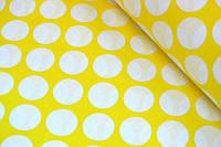 """Польская хлопковая ткань """"горох белый на жёлтом 30 мм"""""""