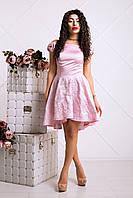 Очаровательное Платье Атлас+Жаккард Асимметрия Розовый р. 42-48