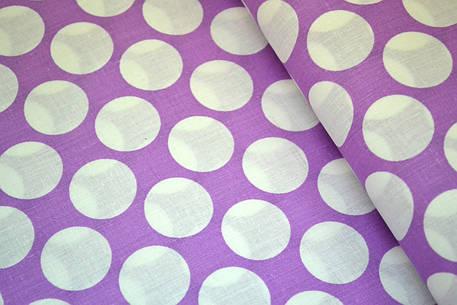 """Польская хлопковая ткань """"горох белый на фиолетовом 30 мм"""", фото 2"""