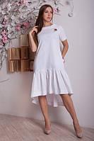 Ляное платье с сборками по низу платья