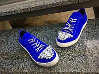 Женские кеды с камнями, натуральный замш, синие / кеды для девочек, модные, 2017