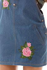 Джинсовое платье с вышивкой , фото 2