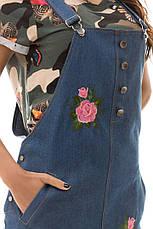 Джинсовое платье с вышивкой , фото 3