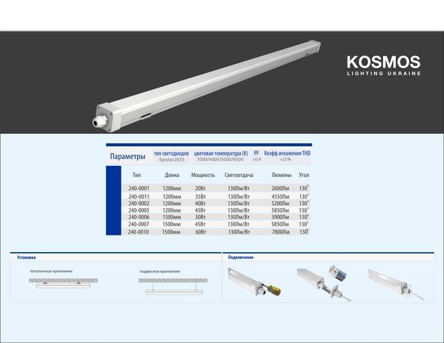 Светильник светодиодный промышленный (Космос Лайтинг Украина)