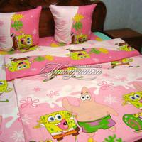 Детский полуторный постельный комплект Губка Боб