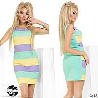 Летнее молодежное платье ментолового цвета в полоску без рукава. Модель 13475.