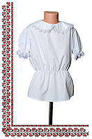 Классическая блузка для девочки с коротким рукавом,белая
