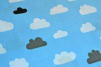 Польський хлопок Польський хлопок хмаринки чорно-білі на голубому