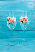 Свадебные бокалы с цветами, фото 1