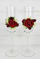 Свадебные бокалы декорированные