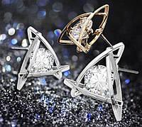 Серьги гвоздики в объемной оправе с прозрачным сверкающим цирконом (алмазный блеск)