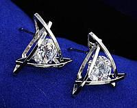 Серьги гвоздики в объемной оправе с прозрачным сверкающим цирконом (алмазный блеск)  серебро