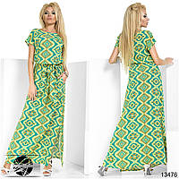 Летнее длинное платье желто-зеленого цвета с коротким рукавом. Модель 13476. Размер 54/56