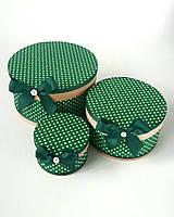 Круглая подарочная коробка ручной работы зелёного цвета в белый горошек