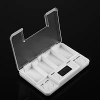 Дорожная таблетница-контейнер для таблеток и пилюль с таймером Pills Reminder