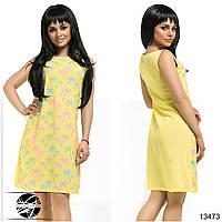 Летнее шифоновое платье желтого цвета с принтом. Модель 13473.