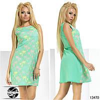 Летнее шифоновое платье ментолового цвета без рукава. Модель 13470.