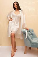 Халат женский шелковый с кокеткой цвета айвори