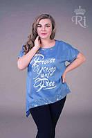 Летняя женская блуза хлопок джинсового цвета, фото 1