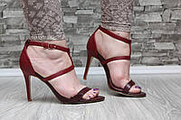 Босоножки марсала на каблуке, фото 1
