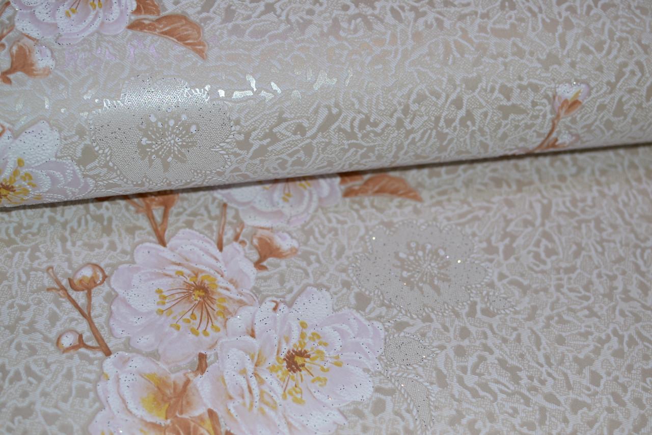 Обои на стену, цветы, светлый, крупный рисунок, акрил на бумаге, B77,4 Каролина 703-01, 0,53*10м