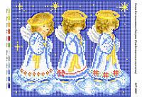 """Схема для частичной вышивки бисером 23х19см  """"Рождественские ангелочки"""""""