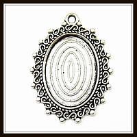"""Сеттинг """"овальный"""" серебро (2,9х3,9 см) 3 шт в уп."""
