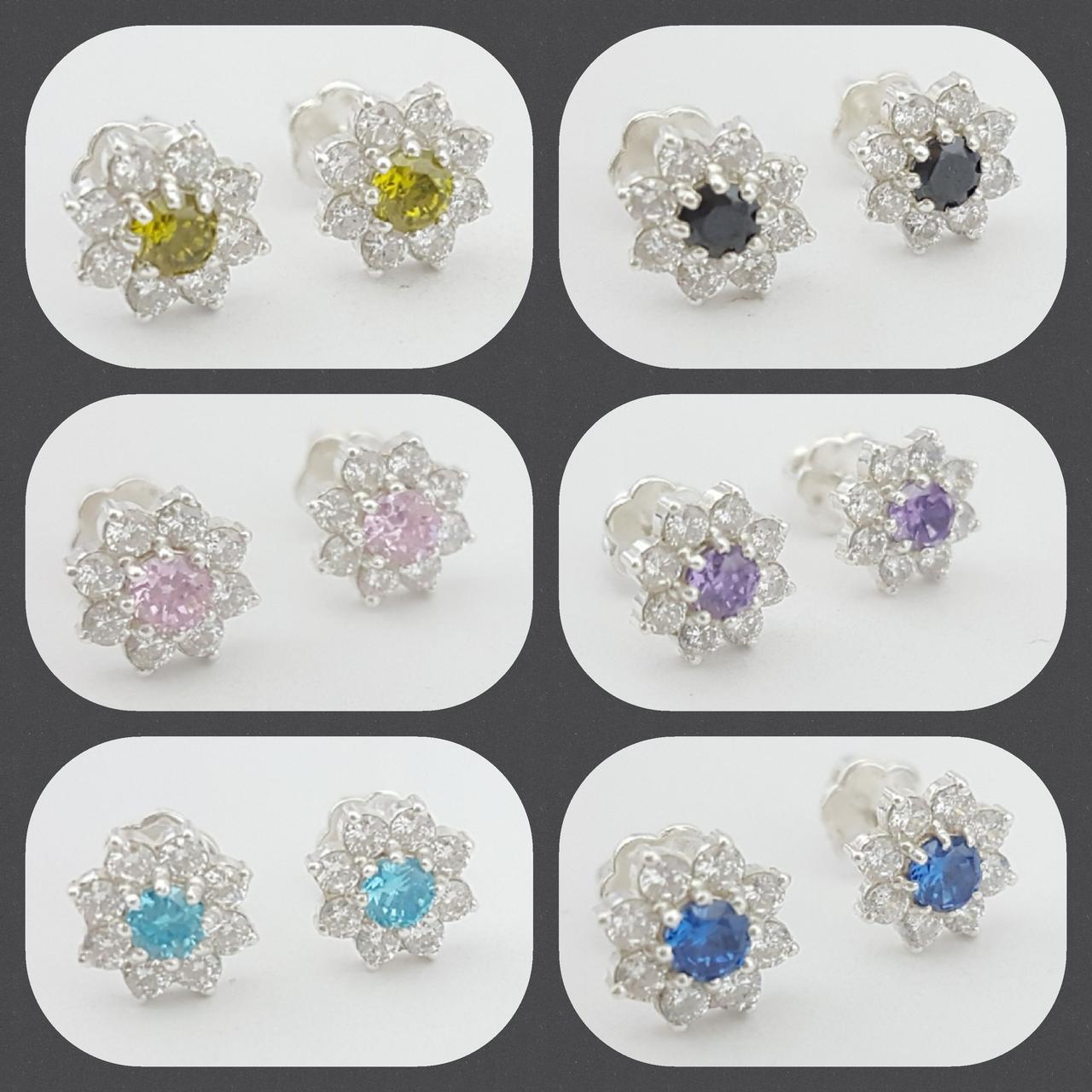 e7175edb21f2 Купить Серебряные серьги-гвоздики с камнями