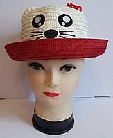 Детская соломенная шляпка кошка с ушками