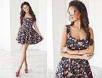 Женское короткое платье - сарафан в цветы с юбкой солнце клеш