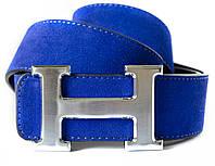 Двухсторонний (синий/черный) женский замшевый ремень HERMES с серебристой пряжкой  (11261)