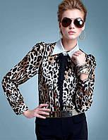 Леопардовая блуза с завязками на воротнике