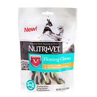 Лакомство Nutri-Vet Flossing Chews 3in1 для средних и крупных собак, с зубной нитью, 96 г