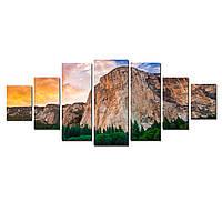 Модульные Светящиеся Большие Картины Горы и Лес Природа Пейзаж Декор Стен Дизайн Интерьер 7 частей