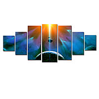 Модульные Светящиеся Большие Картины Космос Земля Восход Солнца Пейзаж Декор Стен Дизайн Интерьер 7 частей
