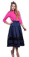 Синяя юбка миди с кожаными вставками