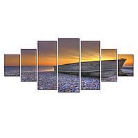 Модульные Светящиеся Большие Картины Лодка у Берега Закат на Море Природа Пейзаж Декор Стен Дизайн Интерьер