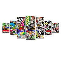 Модульные Светящиеся Большие Картины Коллаж для Детей Комиксы  Декор Стен Дизайн Интерьер 7 частей