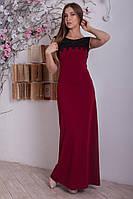 Бордовое длинное платье без рукавов